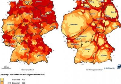 Deutschlandkarte mit der Siedlungs- und Verkehrsfläche 2012 je Einwohner in m²