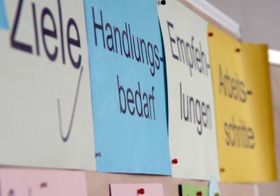 Stellwand mit Zetteln: Ziele, Handlungsbedarf, Empfehlungen und Arbeitsschritte